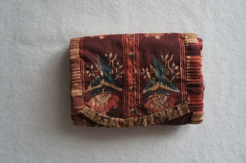 1830-40's antique brown calico sewing roll hand sewn