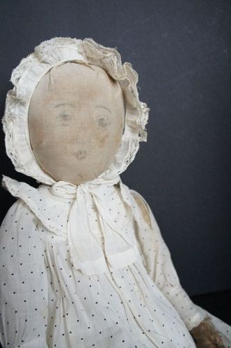 "Babyland Rag doll 21"" tall with very sweet faded face antique"