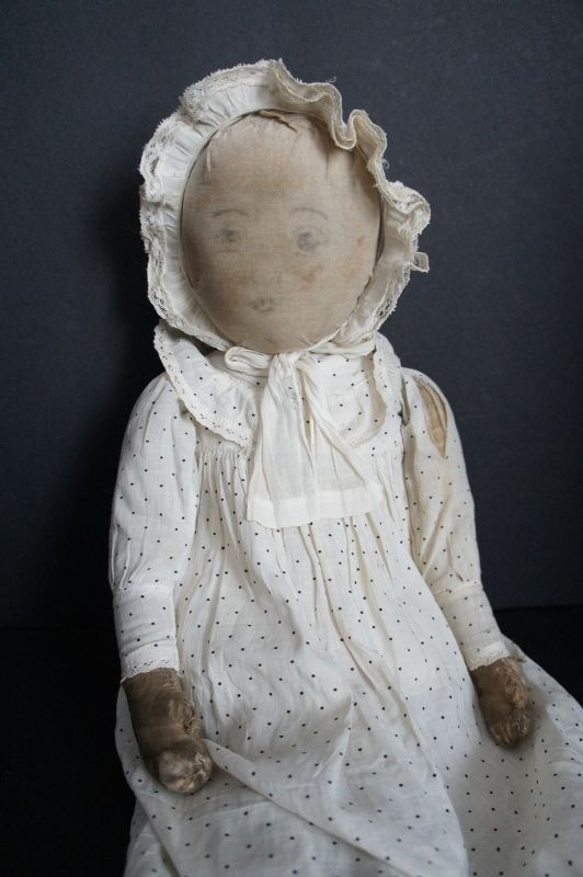 """Babyland Rag doll 21"""" tall with very sweet faded face antique"""