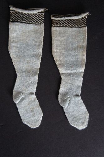 Pair of antique pale blue cotton doll sock 6""