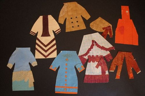 "Antique paper doll dresses 6"" with jackets, apron, hat"