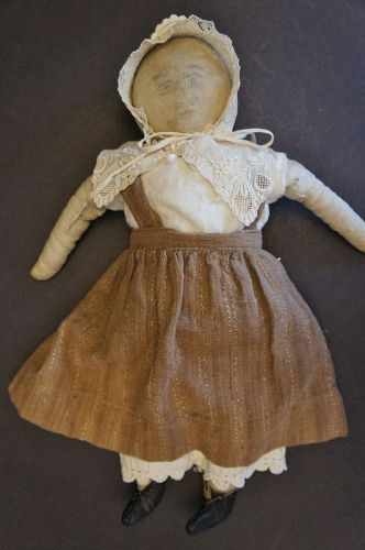"A funny little pencil face homespun linen doll  15"" antique"