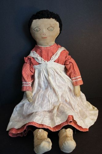 "29"" big beautiful cloth doll embroidered face stitched fingers C. 1890"