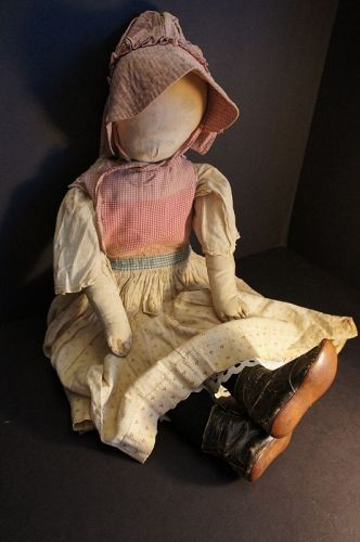 "26"" antique pencil face cloth doll with great clothes"