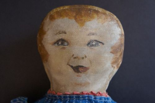 "Laughing eyes character cloth doll 19"" antique"