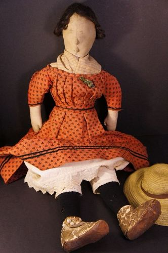 "25"" Beauty, raised nose & chin pencil face antique cloth doll 1870"