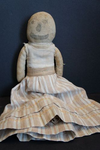 Antique very happy stocking cloth rag doll with ink drawn face