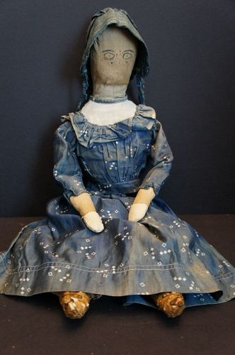 Down home girl stuffed with straw, hand sewn cloth doll C. 1870-80