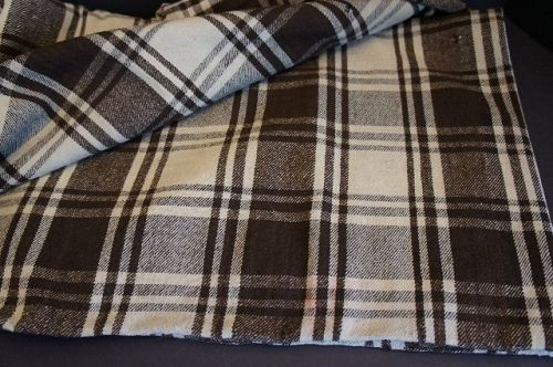 Early brown and white homespun middle seam blanket C1840