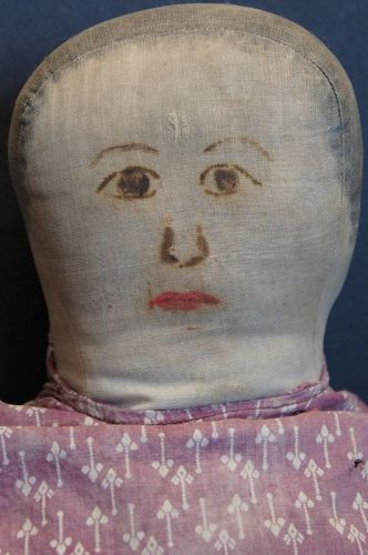 "22"" Big heavy rag stuffed no nonsense doll with painted face antique"
