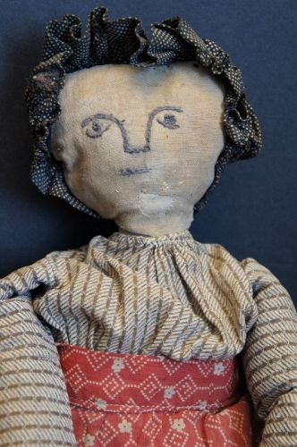 Amazing cloth doll made with a glass bottle body great face 16""