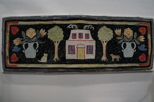 Antique hooked hearth rug with dog cat house hearts folk art 19th C.