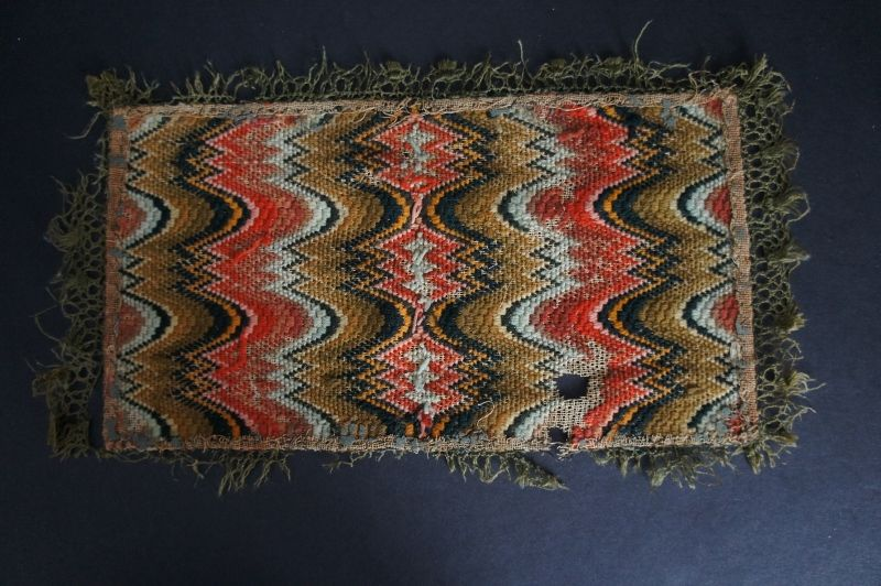 """Wonderful 18th C. Flame stitch mat with strong color 11"""" by 6"""""""
