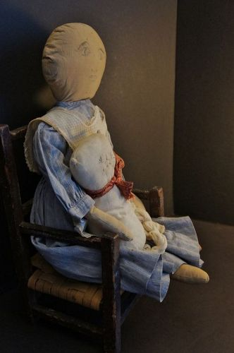 The quiet one, soft gentle kind antique cloth doll 22""