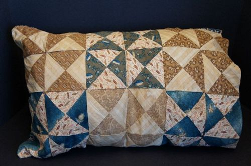 "22"" by 15""' 19th C. quilted blue and brown calico pillow case"