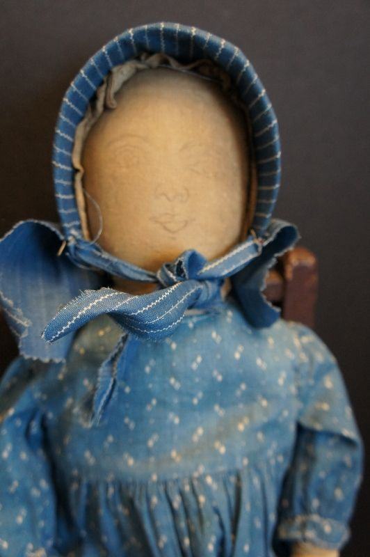 """Blue calico dress and bonnet on 19"""" pencil drawn face doll"""