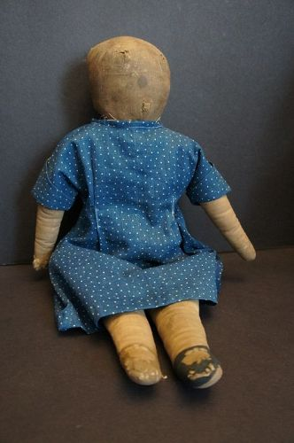 "1900 Mother's Congress doll 18"" with blue calico dress"