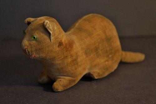 19th C antique velvet cat with a rattle all original