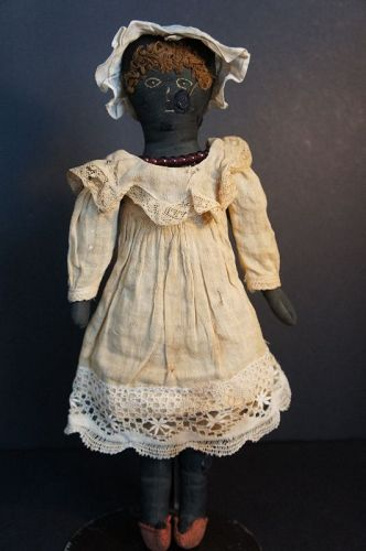 "Dina, 15"" embroidered face antique black doll original clothes 1880"