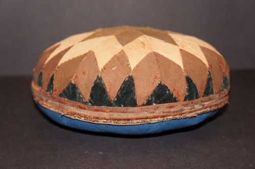 "Big 8"" diameter 19th C. pin cushion velvet saw tooth edge"