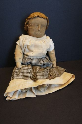 "A  14"" stockinette doll with a great face nicest raised nose C. 1890"