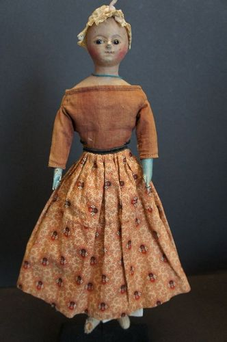 "Wonderful 15"" papier mache Regency doll with original box C.1820"