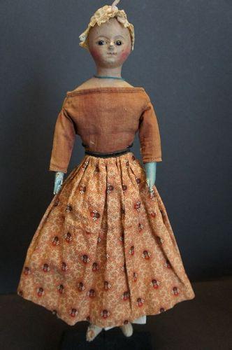 "Wonderful 15"" papier mache Regency doll with original box C.1820"