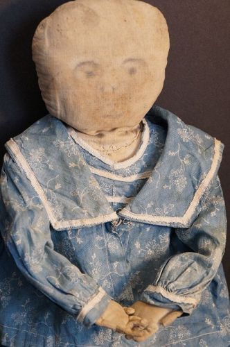 "Antique pencil face cloth doll blue calico dress 23"" history"