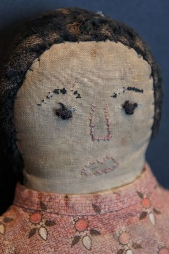 "17"" embroidered face, old calico clothes, all hand sewn doll 1870"