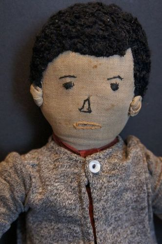 """Good looking boy doll embroidered face cute ears 18"""""""