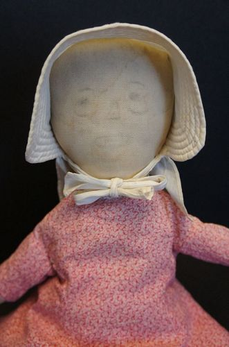 "14"" pencil face cloth doll with joy in her heart, what could be better"