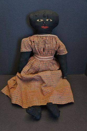 Large very nice antique black cloth doll with embroidered face 22""