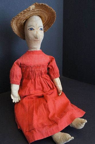 "Make-do doll 24"" tall great center seam face her name is Lizzy 1890"