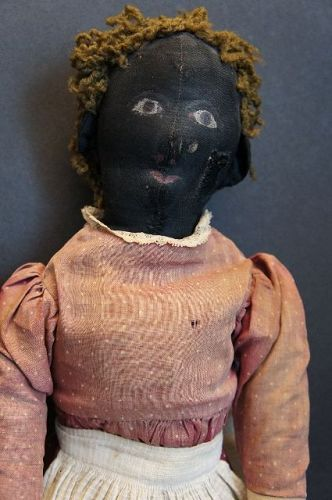 "23"" painted face antique black cloth doll straw stuffed 1890"