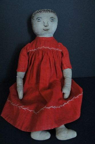 Antique embroidered face cloth doll 13""