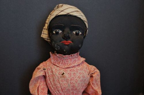 Antique black Beecher type cloth doll with stockinette face 20""