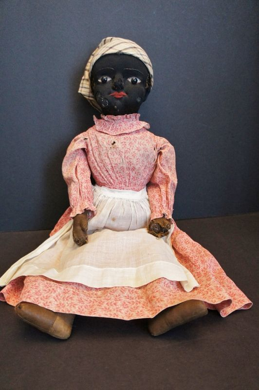 """Antique black Beecher type cloth doll with stockinette face 20"""""""