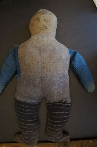 "Great big bold black man folk art cloth doll 20"" C. 1890-1900"