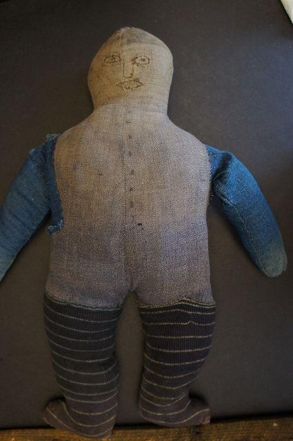 """Great big bold black man folk art cloth doll 20"""" C. 1890-1900"""