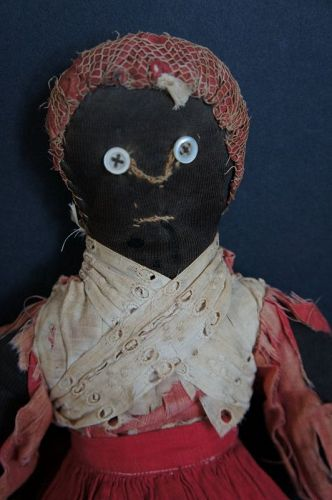 Great old wrecky black cloth doll original clothes antique 16""