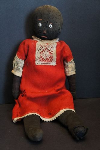 A precious stockinette black doll as found rag stuffed 16""