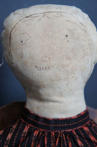 Very special stump doll with the best ink drawn face 19th C.