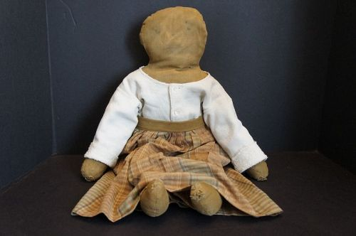 Late 1800's plain and simple rag stuffed black doll 22""