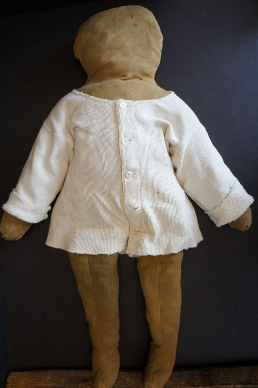 "Late 1800's plain and simple rag stuffed black doll 22"""