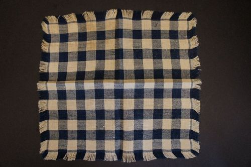 Blue and natural homespun table mat with nice fringe border C1830