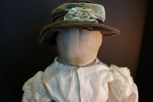 "Antique cloth doll with a face you won't remember 21"" tall circa1880"