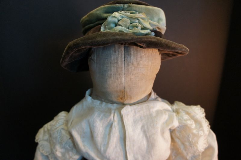 """Antique cloth doll with a face you won't remember 21"""" tall circa1880"""