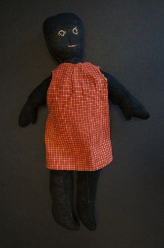 """A simple stockinette black doll embroidered face 14"""""""