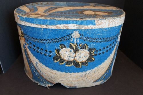 "Very large blue wallpaper box from NH 18""x15""x11"" Circa 1840-50"