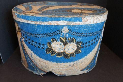 "Very large blue wallpaper box from NH 18""x15""x11"" Circa 1840-50"